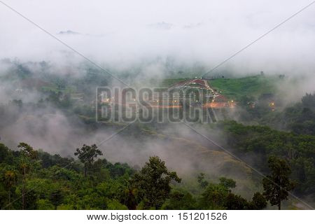 Early morning scenery of beautiful scenary valley of mountain at village color on the mist in the field 3