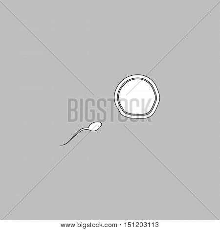 fertilization Simple line vector button. Thin line illustration icon. White outline symbol on grey background