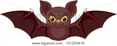 Cute bat on a white background, Eps 8