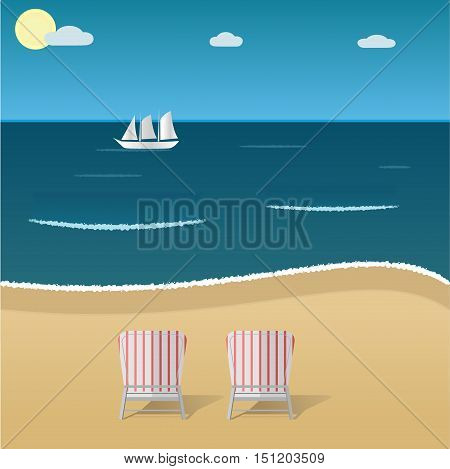 Blue sea beach with stripped armchairs and white sail boat on a horizon. Golden sand and sea waves. Beach relax coastline view vector illustration.