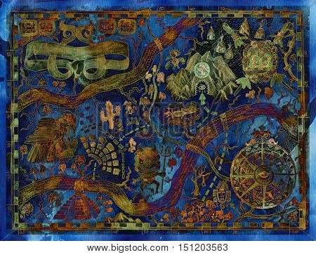 Stylized pirate map of fantasy land with maya or aztecs treasures. Vintage pirate adventures and treasure hunt concept. Drawings of wind compass and antique symbols on ancient manuscript