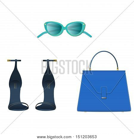 Fashion woman accessories. Sunglasses sandels bag colorful vector fashion set.