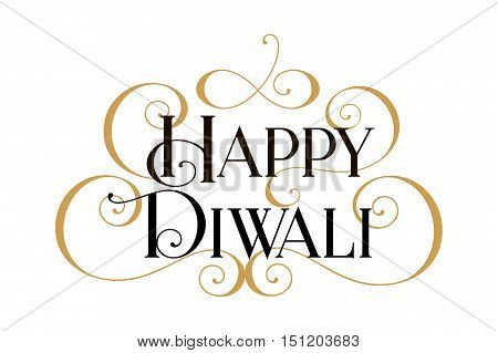 Happy Diwali. Handwritten modern brush black text, gold pinstripe, white background. Beautiful lettering invitation, greeting, prints, posters. Typographic inscription, calligraphic design vector