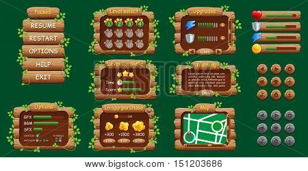 Graphical wood user Interface GUI for mobile game or app. Design buttons and icons. Vector illustration. Easy to edit.