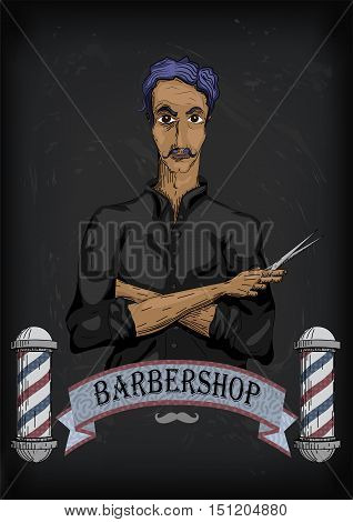 Man male human hairdresser barber coiffeur haircutter in black shirt with purple hair folded hands pair of scissors. Vector vertical closeup front view beautiful signboard barbershop barber's salon