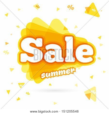 Web Banner sale summer. Vector summer background for Your discount. Lettering Sale summer in a triangle isolated on white background. Sale and special offer. Up to 50 off.