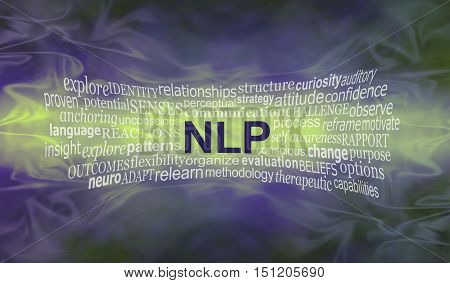 Neuro Linguistic Programming  word cloud banner - wide smokey misty deep purple and lime green background with an NLP word cloud streaming across the middle in lime with copy space around