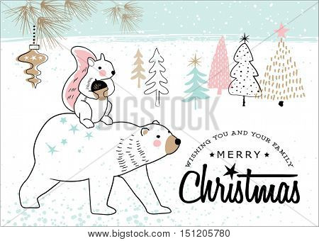 Hand drawn christmas card with cute little squirrel and bear