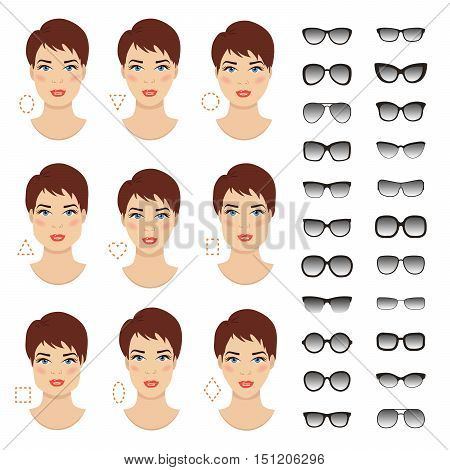 Woman sunglasses shapes for different women face types - square triangle circle oval diamond long heart rectangle. Vector icon set. All glasses with translucent glass.