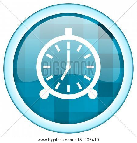 Blue circle vector alarm clock icon. Round internet glossy ringer button. Web design graphic element.
