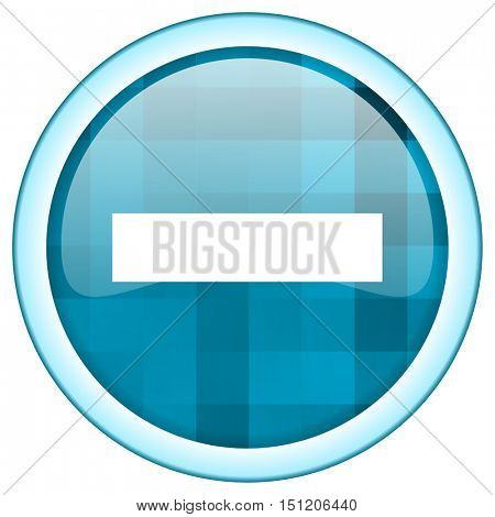Blue circle vector minus icon. Round internet glossy subtract button. Web design graphic element.