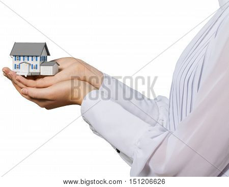 Woman's Hands Holding a Modef of House - Isolated