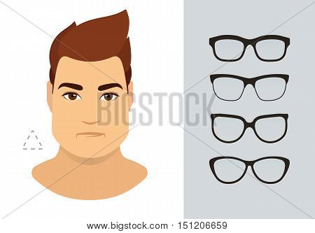 Man sunglasses shapes for triangle man face type. Various forms of summer eye glasses for heart face. Fashion collection. Vector icon set.