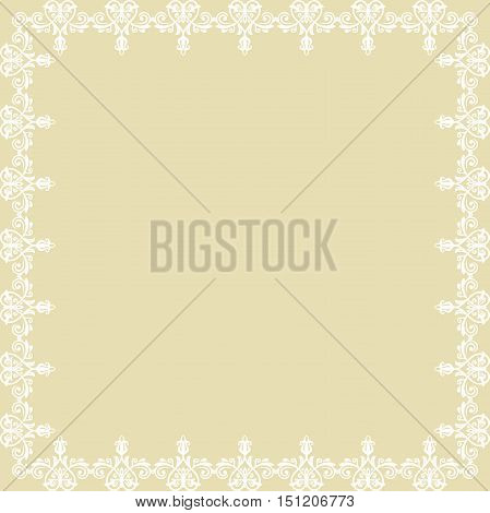 Classic vector square frame with white arabesques and orient elements. Abstract fine ornament with place for text