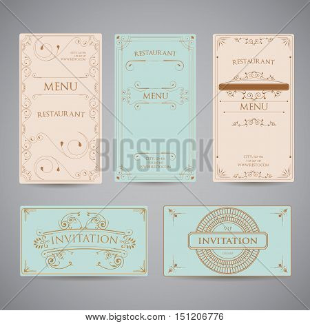 Set Of Vintage Luxury Greeting Restaurant Menu Design Template with Flourish Art Deco Frame Elegant Border and Flourishes Corner Elements