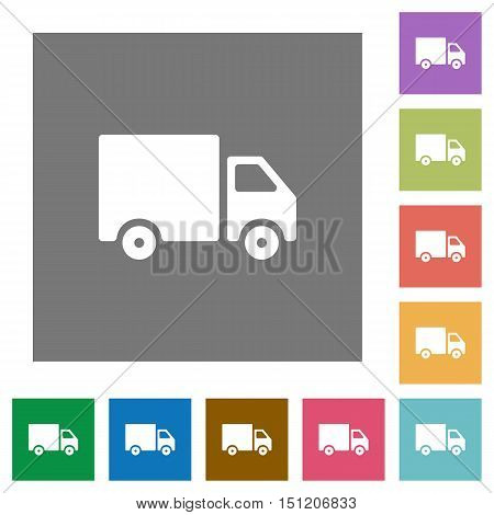 Delivery truck flat icon set on color square background.