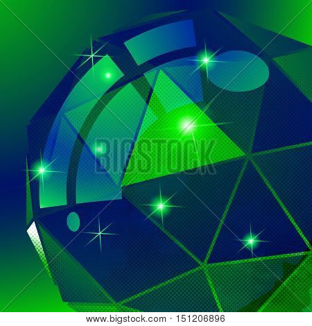 Vector grain technology backdrop multifaceted pixilated cybernetic model.