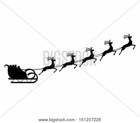 Santa Claus rides in a sleigh in harness on the reindeer