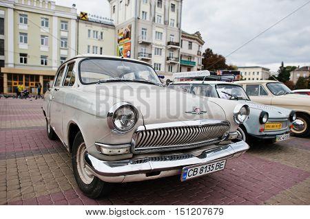 Tarnopol, Ukraine - October 09, 2016: Classic Retro Car White Gaz-21, Third Series Of Volga, Nicknam