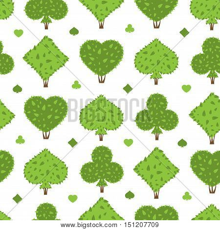 Topiary seamless pattern. Four suits shapes of bushes: heart spade club diamond. Green color. Shrub background. Wrapping seamless pattern for Casino game. Vector bushes elements on white background