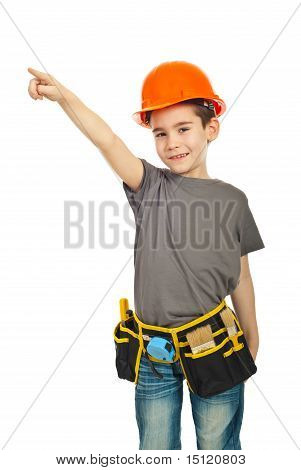Little Constructor Worker Boy Pointing