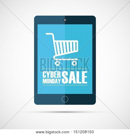 Cyber Monday Sale. Online shopping. Concept for business, promotion, advertising and e-commerce. Vector illustration.