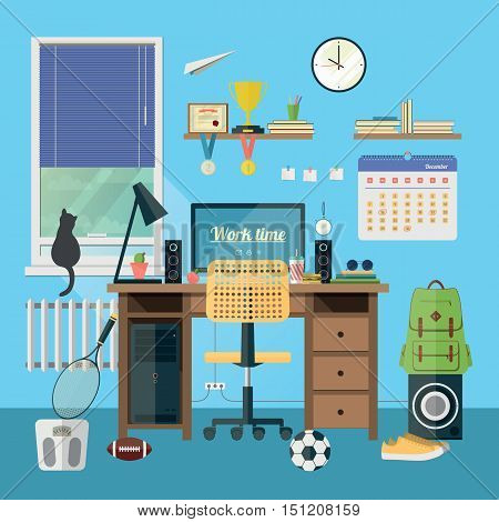 Vector illustration of modern workplace in room. Creative office workspace with equipment elements objects. Flat minimalistic style in stylish colors. Flat design icon collection