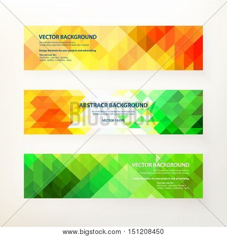 Set of modern horizontal vector banners. Triangle decor, geometric pattern in Indian color concept. Design concept for your project and advertising, brochure, banner, flyer. Vector illustration