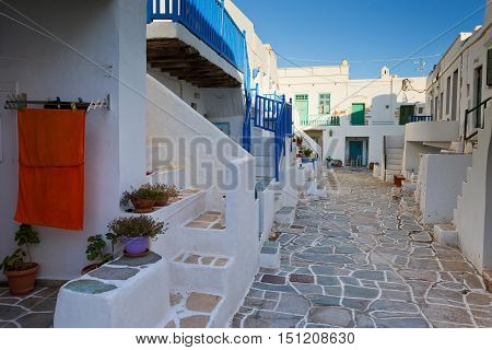Typical  white cycladic houses of Folegandros village.