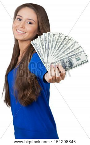Young Woman Shoving of Dollar Bills - Isolated