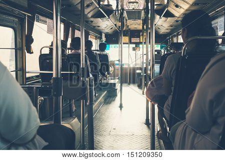 BANGKOK THAILAND - NOV 152015 : Bangkok Public Transportation Bus interior with People Daily lifestyle on Public transport