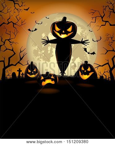 Halloween Party Poster with terrible pumpkins and a scarecrow, vector format
