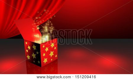 Spinning gift box opening gift and magic stars and light coming out from it. 3D rendering.