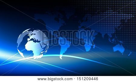 Blue earth technology, business and communications background. White globe with blue world map in the background. Room for your text and logo. 3D rendering.