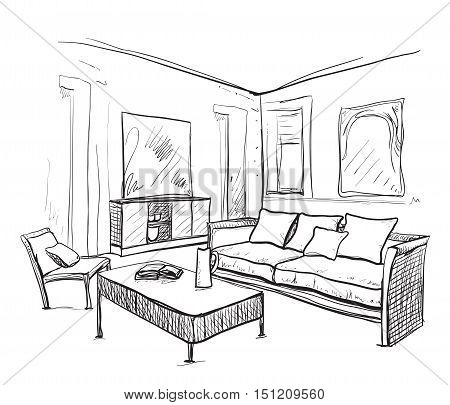 Hand drawn room interior. Furniture sketch. Home