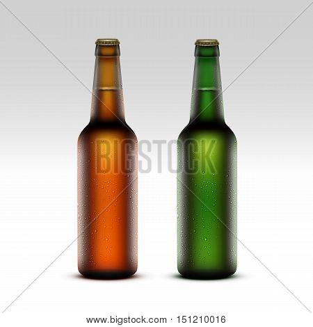 Vector Set of  Closed Blank Glass Transparent Brown Green Yellow Orange Frosty Bottles of  Light Beer with Drops of Water without labels for Branding Close up Isolated on White Background
