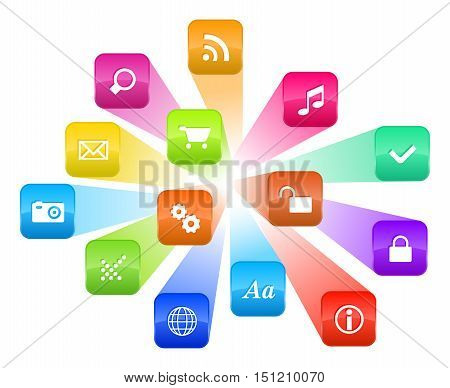 Software concept: vector cloud of colorful program icons isolated on white background