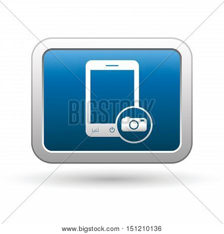 Phone with camera menu icon on the button. Vector illustration