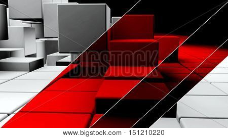 White realistic plastic 3d cubes with red stripes over them. 3D rendering.