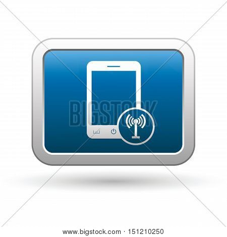 Phone with wireless icon on the button. Vector illustration