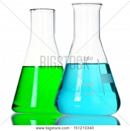 Two Conical Flasks with Green and Blue Liquid - Isolated