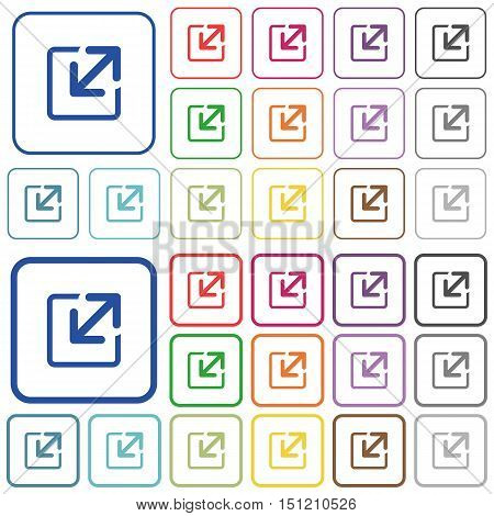 Set of resize window flat rounded square framed color icons on white background. Thin and thick versions included.