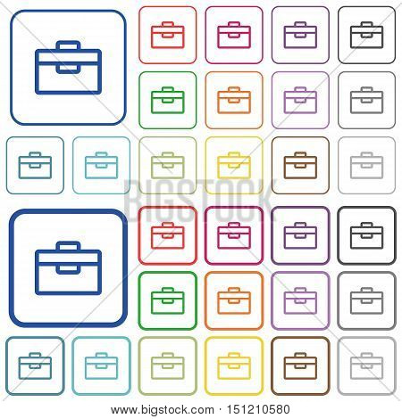 Set of toolbox flat rounded square framed color icons on white background. Thin and thick versions included.