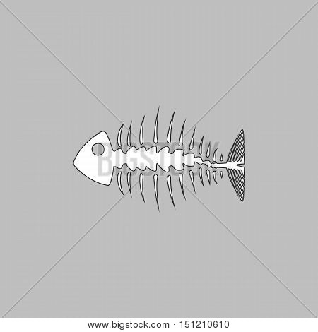 Fishbone Simple line vector button. Thin line illustration icon. White outline symbol on grey background