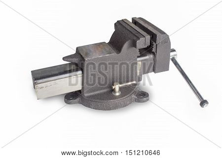 Table vise isolated on white. background, metal