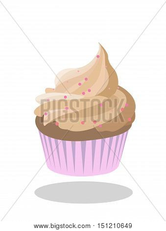 Cupcake beige icing decorated with pink sprinkles in pink paper case. Vector
