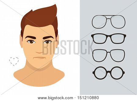 Man sunglasses shapes for heart man face type. Various forms of summer eyeglasses for heart face. Fashion collection. Vector icon set.