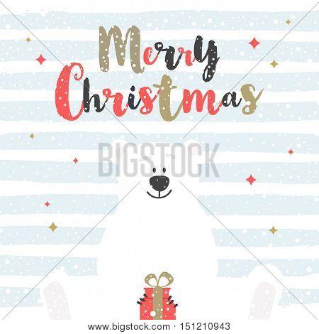 Cute cartoon polar bear with holiday gift. Christmas greeting card. Vector illustration.