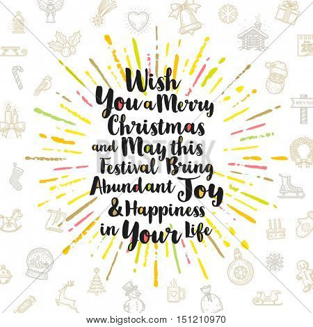 Christmas greeting card with calligraphic type design, multicolored sunburst and Christmas sign and symbols.
