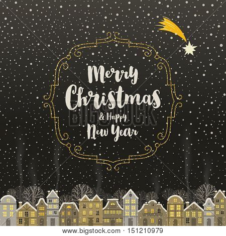 Christmas greeting card - Calligraphy type design with glitter gold frame and snowbound winter town